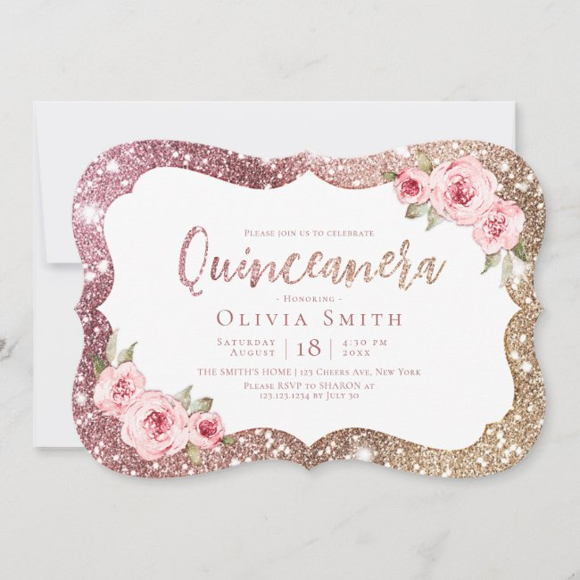 Sparkle rose gold glitter and floral Quinceanera Invitation