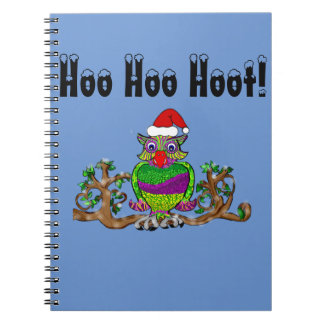 Sparkle Santa Owl goes back to school Notebook
