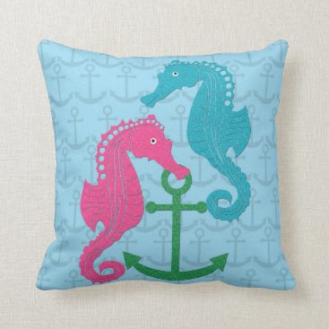 Beach Themed Sparkle Seahorse and Anchor Throw Pillow