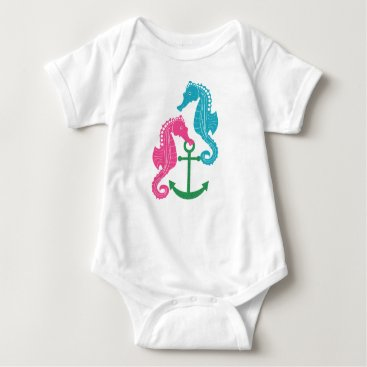 Beach Themed Sparkle Seahorses and Anchor Baby Bodysuit