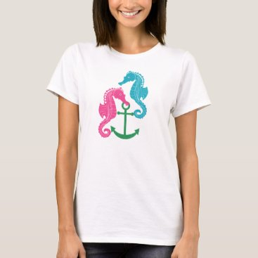 Beach Themed Sparkle Seahorses and Anchor T-Shirt