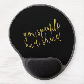Sparkle Shine Quote Faux Gold Foil Glitter Gel Mouse Pad