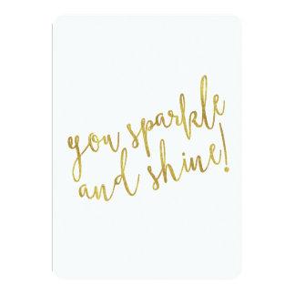 Sparkle Shine Quote Faux Gold Foil Glitter 5x7 Paper Invitation Card