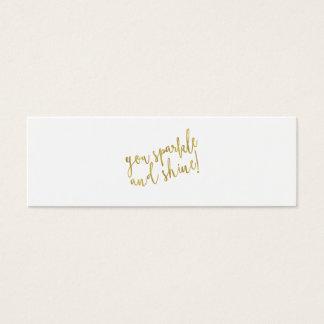 Sparkle Shine Quote Faux Gold Foil Glitter Mini Business Card