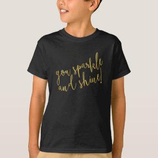 Sparkle Shine Quote Faux Gold Foil Glitter T-Shirt