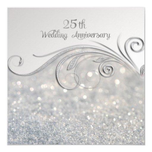 Sparkle silver th wedding anniversary card zazzle