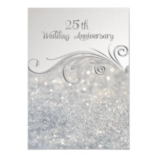 Sparkle Silver 25th Wedding Anniversary Invitation