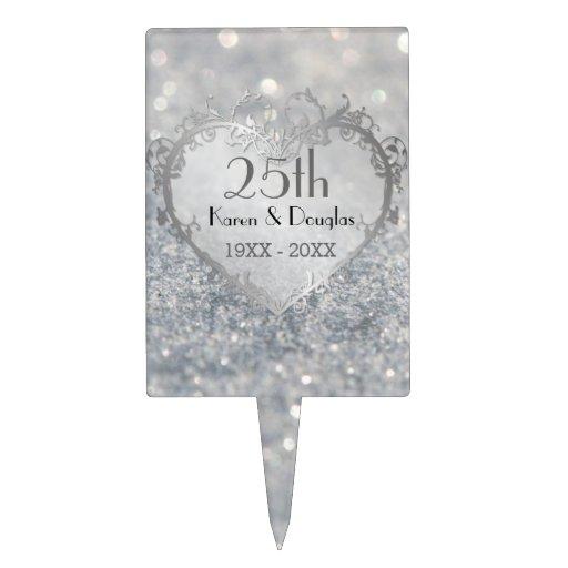 Sparkle Silver Heart 25th Wedding Anniversary Cake Pick