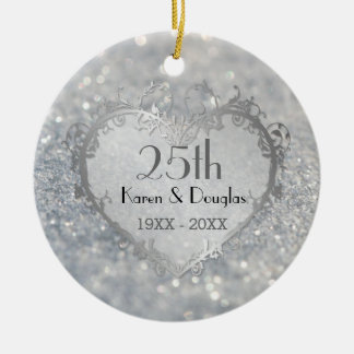 Sparkle Silver Heart 25th Wedding Anniversary Ceramic Ornament