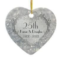 Sparkle Silver Heart 25th Wedding Anniversary Ceramic Ornament