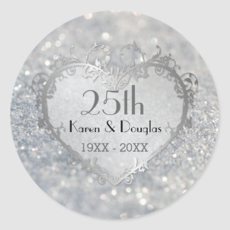 Sparkle Silver Heart 25th Wedding Anniversary Classic Round Sticker
