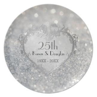 Sparkle Silver Heart 25th Wedding Anniversary Dinner Plate