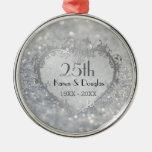Sparkle Silver Heart 25th Wedding Anniversary Metal Ornament