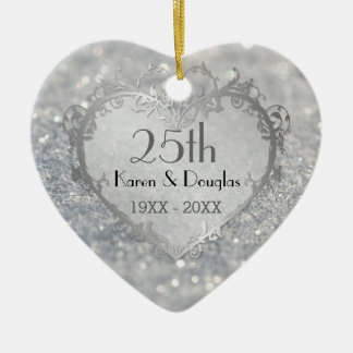 Sparkle Silver Heart 25th Wedding Anniversary Christmas Ornaments