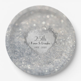 Sparkle Silver Heart 25th Wedding Anniversary Paper Plate