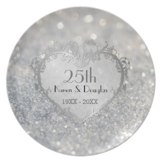 Sparkle Silver Heart 25th Wedding Anniversary Party Plate