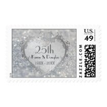 Sparkle Silver Heart 25th Wedding Anniversary Postage