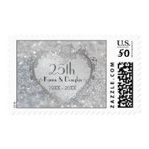 Sparkle Silver Heart 25th Wedding Anniversary Postage