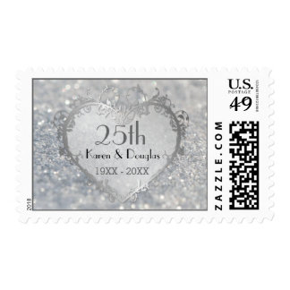 Sparkle Silver Heart 25th Wedding Anniversary Postage Stamps