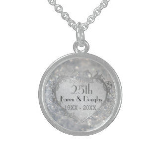 Sparkle Silver Heart 25th Wedding Anniversary Sterling Silver Necklace