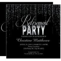 Sparkle, Silver Retirement Party Invitations