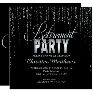Sparkle, Silver Retirement Party Invitations