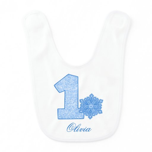 Sparkle Snowflake Blue 1st Birthday Personalized Bib