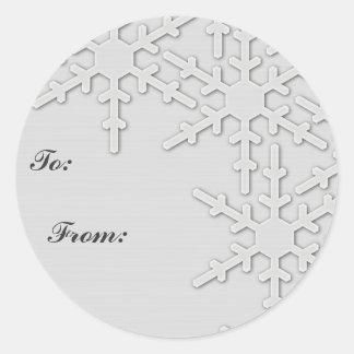 Sparkle Snowflake Design Round Stickers