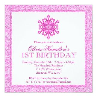 Sparkle Snowflake Pink 1st Birthday Card