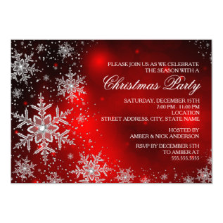 Sparkle Snowflake Red Christmas Party Invite at Zazzle