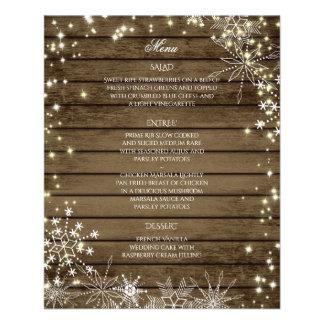 Sparkle Snowflakes and Barn Wood Wedding Menu