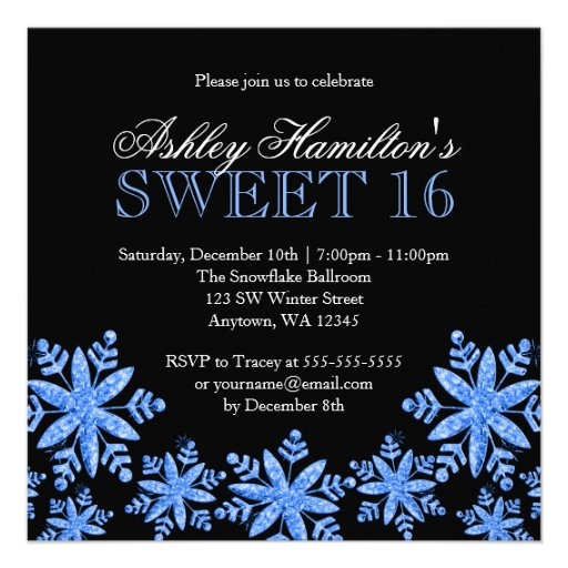 Sparkle Snowflakes Blue Sweet 16 Winter Wonderland Custom Announcements