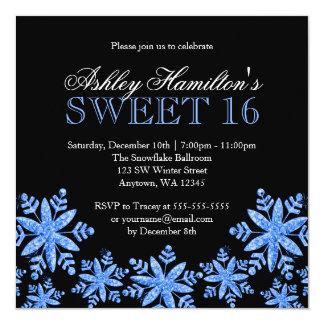 Sparkle Snowflakes Blue Sweet 16 Winter Wonderland 5.25x5.25 Square Paper Invitation Card