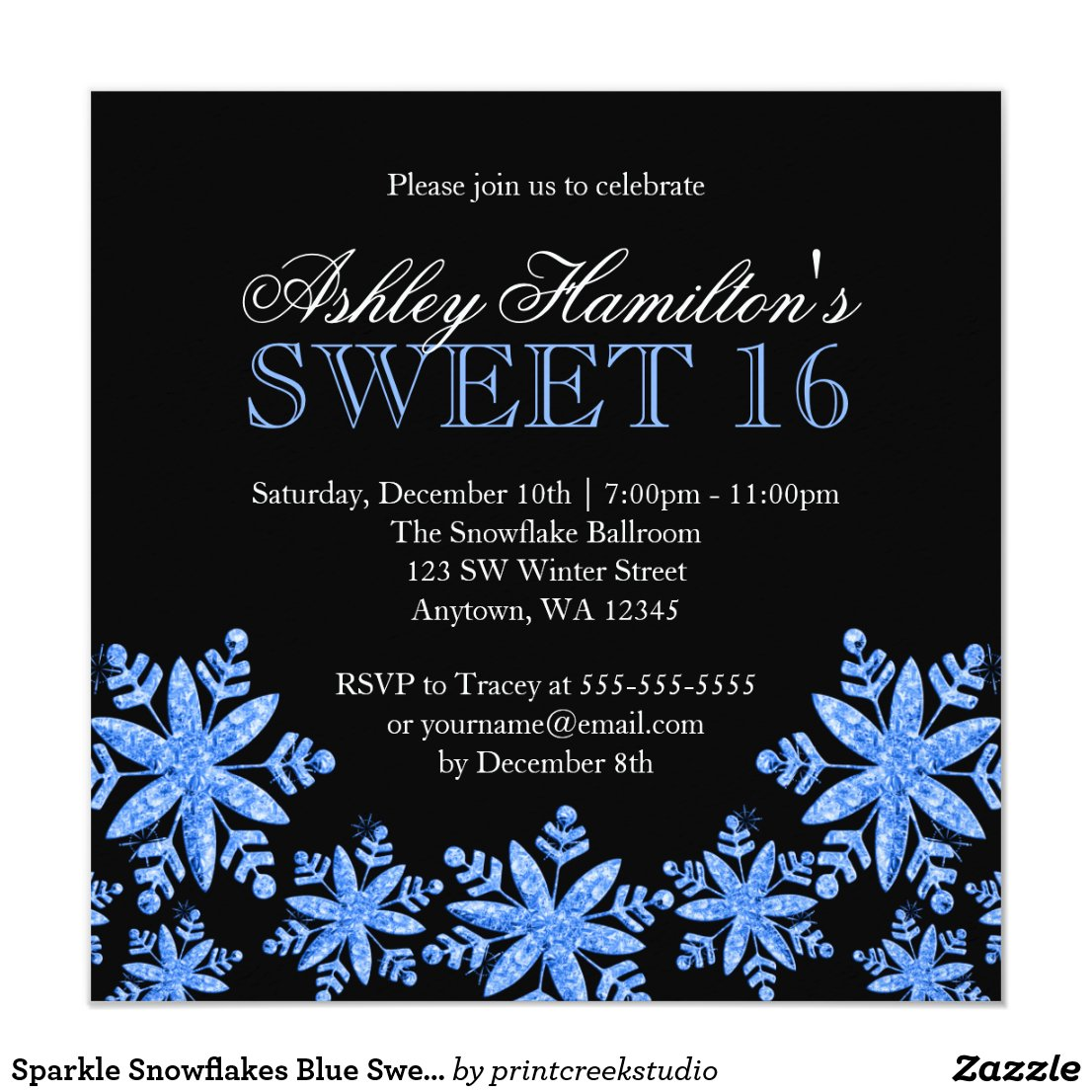 Sparkle Snowflakes Blue Sweet 16 Winter Wonderland Invitation
