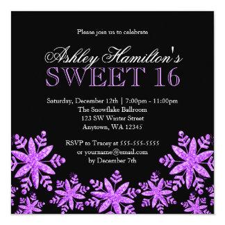 Sparkle Snowflakes Purple Sweet 16 Winter Invitation