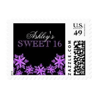 Sparkle Snowflakes Purple Sweet 16 Winter Postage