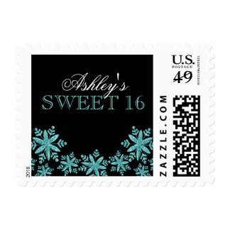 Sparkle Snowflakes Teal Blue Sweet 16 Winter Stamp