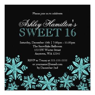 Sparkle Snowflakes Teal Sweet 16 Winter Wonderland 5.25x5.25 Square Paper Invitation Card