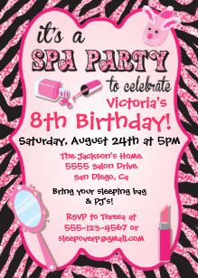 Spa party invitations announcements zazzle sparkle spa birthday party invitations filmwisefo Gallery