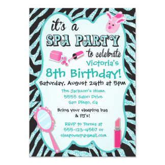 Sparkle Spa Birthday Party Invitations