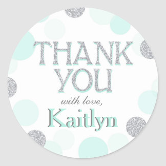 Sparkle Sprinkle Dots Thank You Label Classic Round Sticker