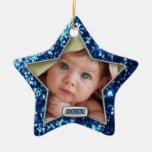 Sparkle Star Blue/Silver Photo Ornaments