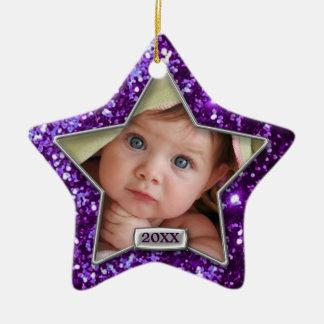 Sparkle Star Purple/Silver Photo Ceramic Ornament