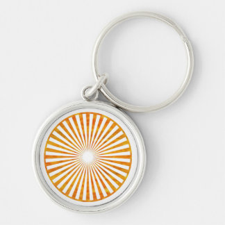 Sparkle Sun Chakra - Uses Sunflower Petal Colors Silver-Colored Round Keychain