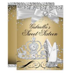 Sparkle Tiara Heels Gold Sweet 16 Card