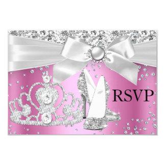 Sparkle Tiara & Heels Pink Sweet 16 RSVP 3.5x5 Paper Invitation Card