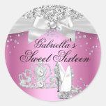Sparkle Tiara & Heels Pink Sweet 16 Sticker