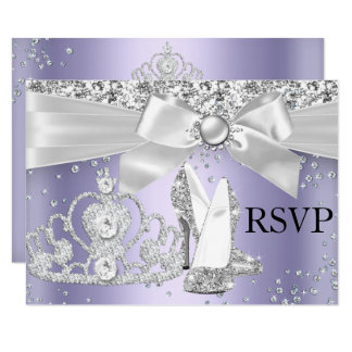 Sparkle Tiara & Heels Purple Sweet 16 RSVP Card