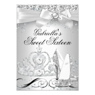 "Sparkle Tiara & Heels Silver Sweet 16 Invite 4.5"" X 6.25"" Invitation Card"