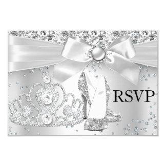 Sparkle Tiara Heels Silver Sweet 16 RSVP Card